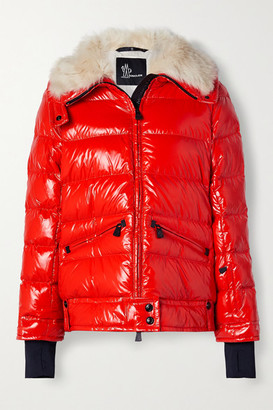 MONCLER GRENOBLE Arabba Faux Fur-trimmed Quilted Glossed-shell Down Jacket - Red