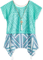Self Esteem 2-Pc. Lace Popover with Necklace, Big Girls (7-16)