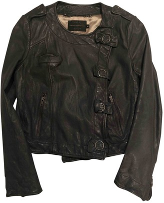 French Connection Grey Leather Jacket for Women
