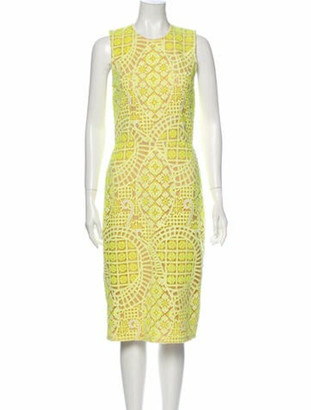 Alexis Printed Midi Length Dress Yellow