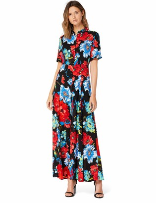 Amazon Brand - TRUTH & FABLE Women's Maxi Floral A-Line Dress