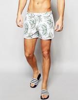 Asos Runner Swim Shorts With Leaf Print In Short Length
