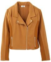 Molly Bracken Cropped Zip-Up Biker Jacket