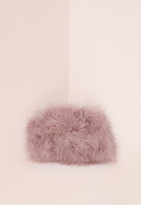 Missguided Feather Clutch Bag Mauve