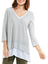 Vince Camuto Two By Double Layer Mix Media V-Neck Top