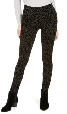 Style&Co. Style & Co Petite Cheetah-Print Flocked Ponte-Knit Pants, Created for Macy's