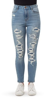 No Boundaries Juniors' Destructed Curvy High Rise Ankle Skinny Jeans