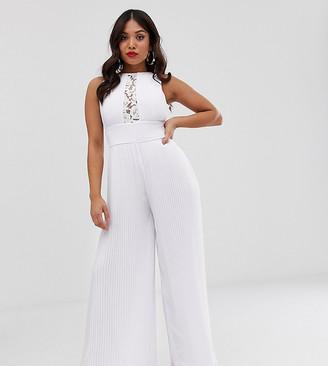 TFNC Petite Petite lace detail jumpsuit in white