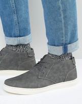 Brave Soul Hi Top Slip On Plimsolls In Grey