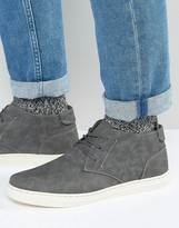 Brave Soul Hi Top Slip On Sneakers In Gray