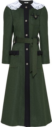 Miu Miu Lace Collar Mid-Length Coat