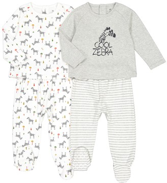 La Redoute Collections Pack of 2 Cotton Pyjamas with Zebra Print, 1 Month-4 Years