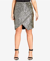 City Chic Trendy Plus Size Sequined Mini Skirt