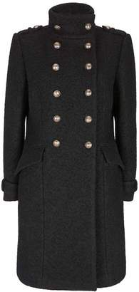 Mint Velvet Black Military Boucle Coat