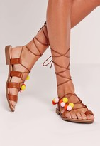 Missguided Pom Pom Lace Up flat Sandals Tan