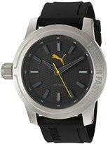 Puma Quartz Stainless Steel and Polyurethane Watch, Color:Black (Model: PU103991003)