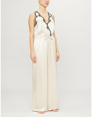 Selfridges Nicole lace-trimmed satin-silk onesie