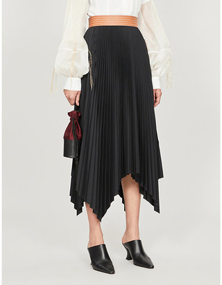 Loewe Pleated asymmetric high-waist crepe skirt