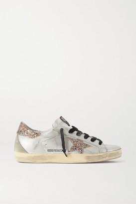 Golden Goose Superstar Distressed Glittered Metallic Leather Sneakers - Silver