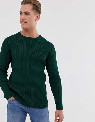 Selected knitted jumper in chunky rib-Green
