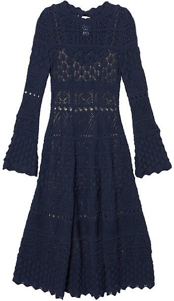 Carolina Herrera Pointelle Knit Fit-&-Flare Dress