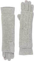 Portolano Light Grey Cashmere Cable Knit Long Gloves