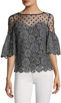 Plenty by Tracy Reese Women's Lace Scalloped Cotton Blouse