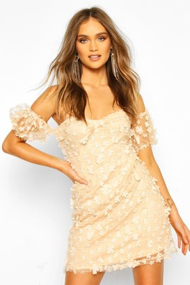 boohoo Floral Lace Puff Sleeve Off The Shoulder Mini Dress
