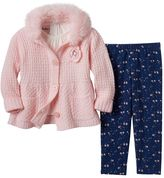 Little Lass Baby Girl Chunky Sweater, Tee & Floral Leggings Set