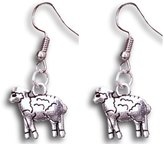 Lamb Sheep Silver Dangle Earrings by the Bohemian Vagabond