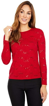 MICHAEL Michael Kors Sequin Jacquard Long Sleeve Top (Red Currant) Women's Clothing
