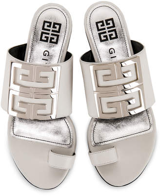 Givenchy Logo Flat Sandals in White | FWRD