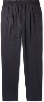 Giorgio Armani Navy Tapered Textured Silk-Blend Drawstring Trousers