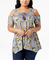 Style&Co. Style & Co Plus Size Printed Crochet-Trim Cold-Shoulder Peasant Top, Created for Macy's