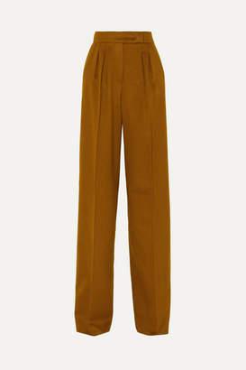 Max Mara Renon Pleated Camel Hair Wide-leg Pants - Tan
