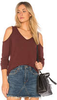 Michael Stars Cold Shoulder Sweatshirt in Red. - size L (also in M,S,XS)
