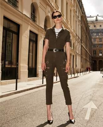 The Kooples Cotton military-style loose khaki jumpsuit