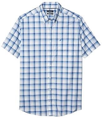 Nautica Big Tall Casual Woven Plaid Shirt (White) Men's Clothing