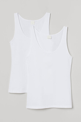 H&M 2-pack Ribbed Tank Tops - White
