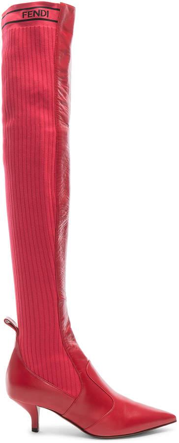 Fendi Rockoko Thigh High Boots in Red | FWRD