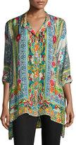 Johnny Was Karino Button-Front Silk Printed Blouse, Plus Size