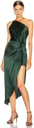 Mason by Michelle Mason for FWRD Twist Knot Midi Dress in Bottle   FWRD