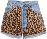 Beau Souci Denim and Leopard Print Shorts