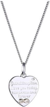 Moon & Back Diamond Granddaughter Pendant 18 Inch Necklace