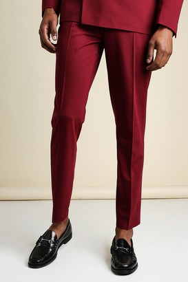boohoo Mens Red Slim Plain Suit Trousers With Chain, Red
