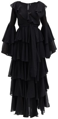 Norma Kamali Side-slit Ruffled Chiffon Dress - Black