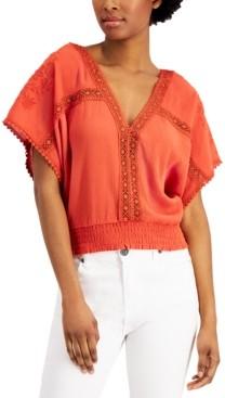 Self Esteem Juniors' Crochet-Trim Top