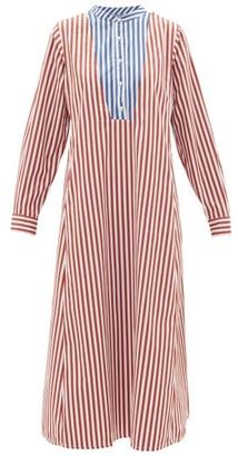 Thierry Colson Victoria Striped Cotton-poplin Midi Tunic Dress - Womens - Red Multi