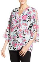 Chaus Women's Flowerscape Split Sleeve Blouse