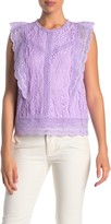 Adrianna Papell Crochet Knit Lace Ruffle Top